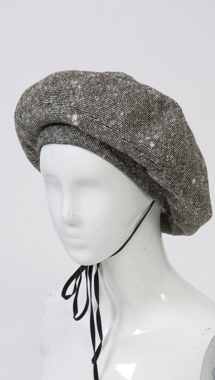 Gray Adolfo Black/White Tweed Beret For Sale