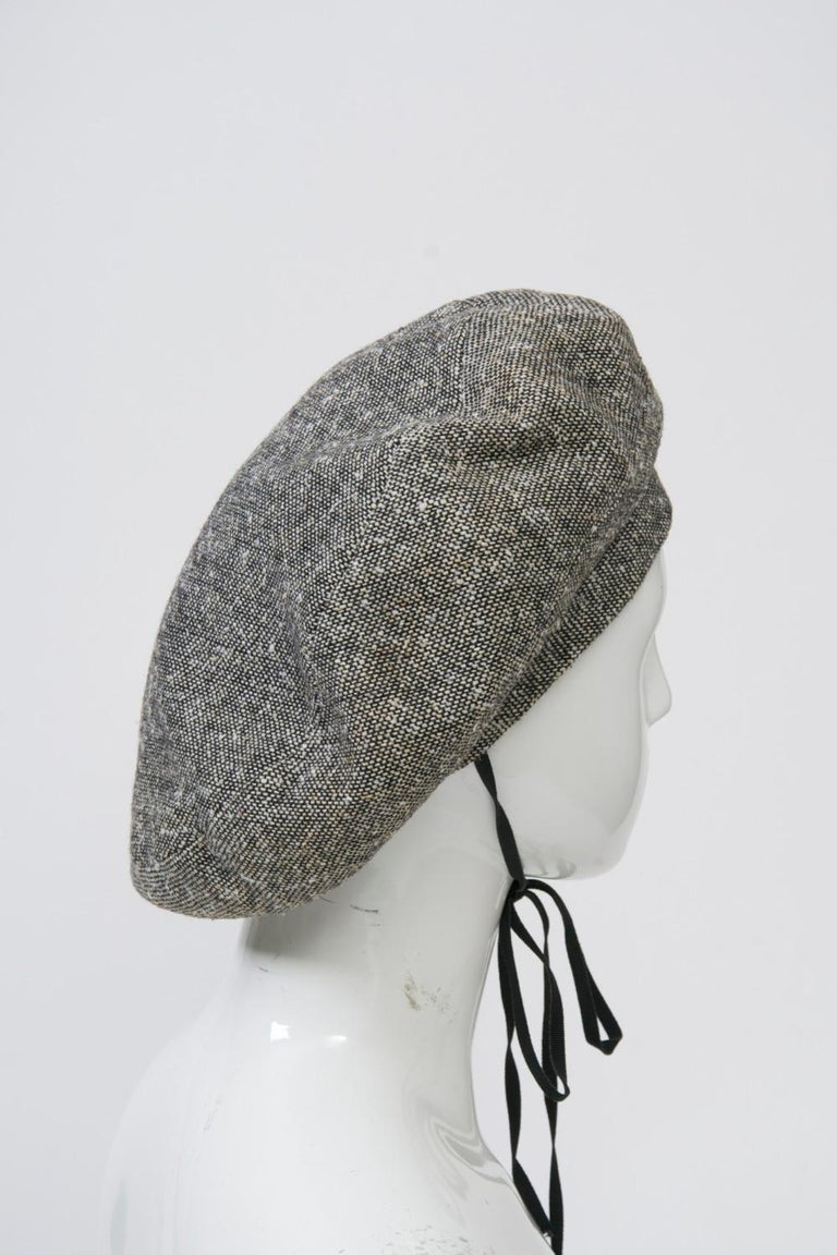Adolfo Black/White Tweed Beret In Good Condition For Sale In Alford, MA