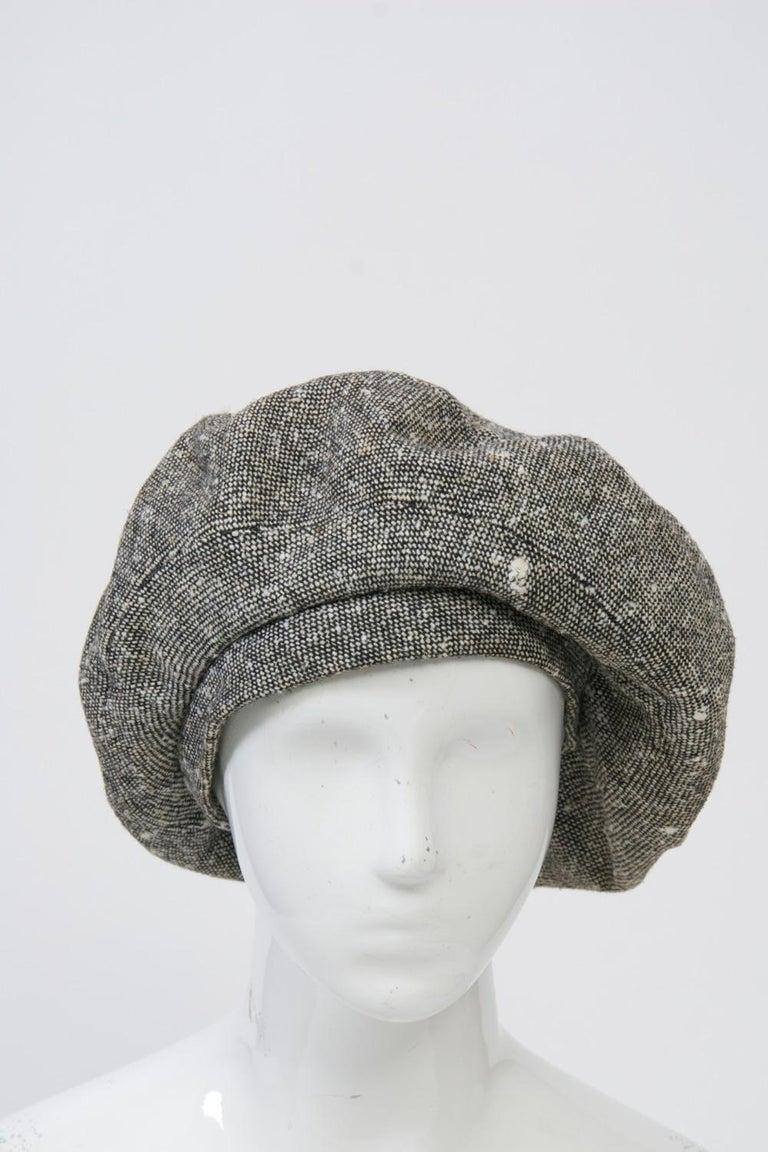Women's Adolfo Black/White Tweed Beret For Sale