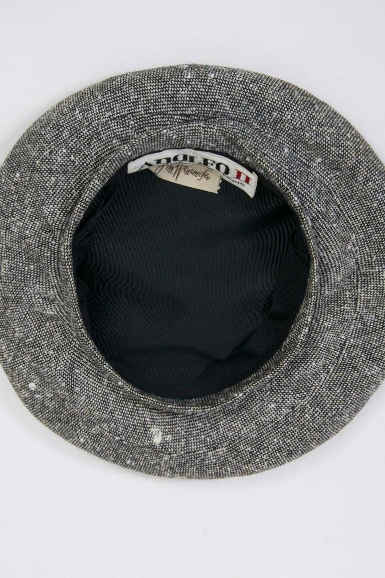 Adolfo Black/White Tweed Beret For Sale 3