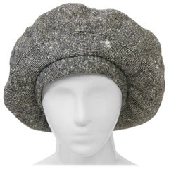 Adolfo Black/White Tweed Beret