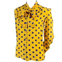 Adolfo Blouse in Yellow Silk With Blue Polka Dots and Bow