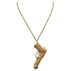 Adolfo Courrier 18 Karat Rose Gold .80 Carat Diamond Beretta Pistol Gun Pendant