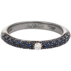 Adolfo Courrier Sapphire Diamond Stacking Ring 18 Karat Gold Estate Jewelry