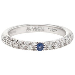 Adolfo Courrier Sapphire Pave Diamond Stacking Ring 18 Karat Gold Jewelry