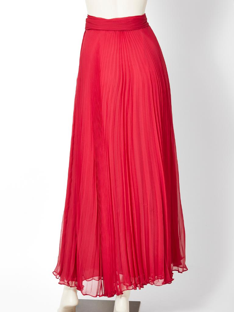 Red Adolfo Crystal Pleated Silk Maxi Skirt For Sale