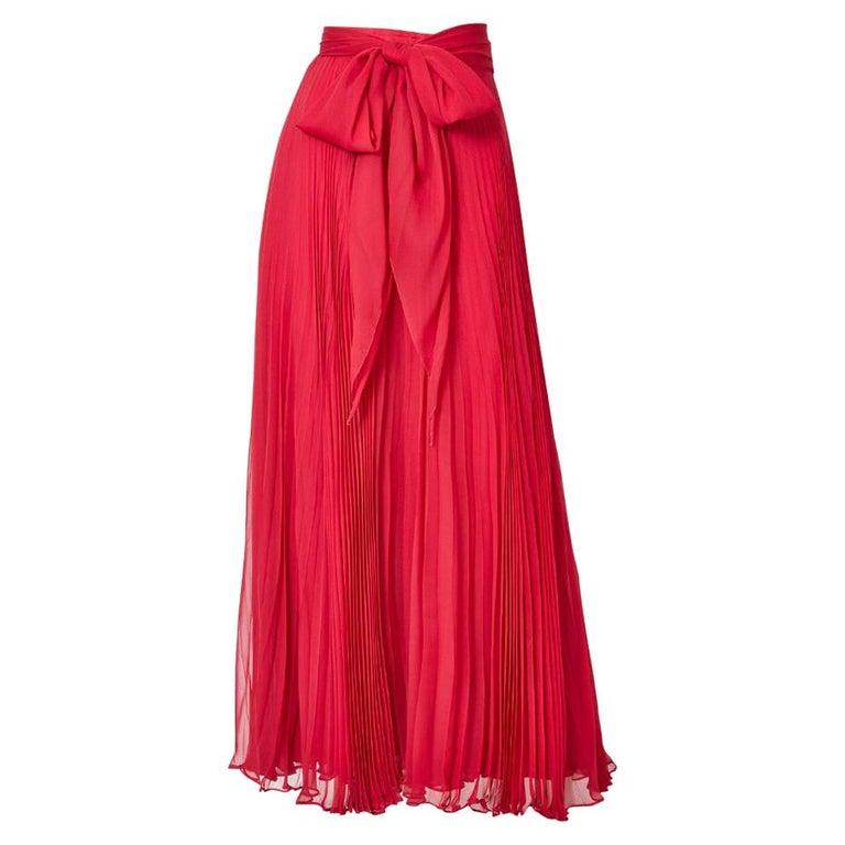 Adolfo Crystal Pleated Silk Maxi Skirt For Sale