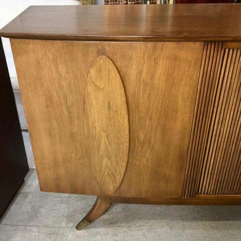 Brass Adolfo Genovese Walnut Buffet Sideboard For Sale