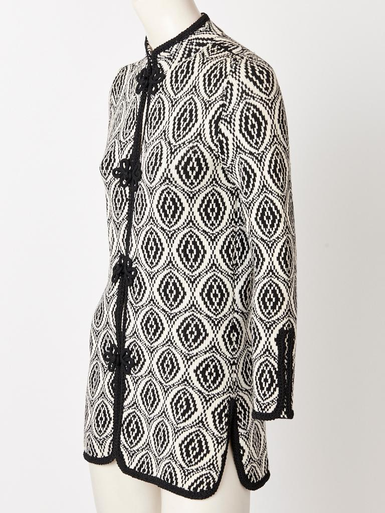 Adolfo, black and white, graphic pattern, knit, Chinese inspired, cardigan, having a mandarin collar, passementerie, trim detail along the edges and
