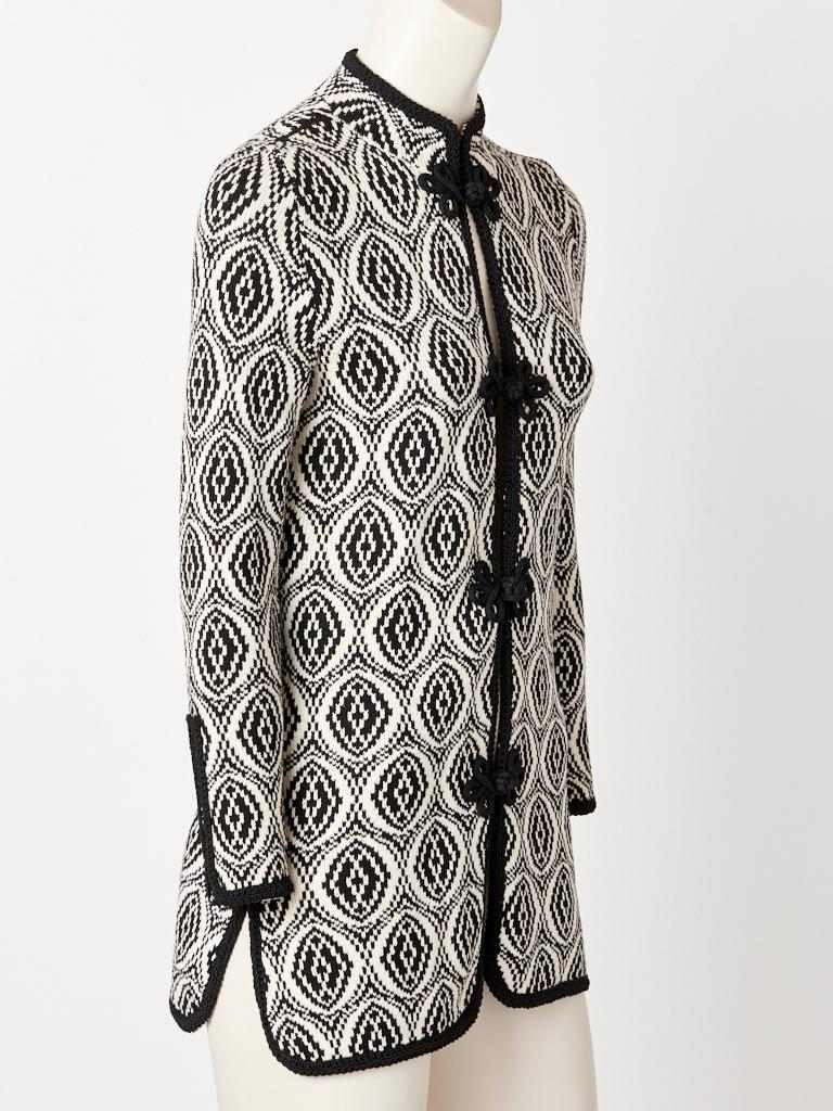 Gray Adolfo Graphic Pattern Knit Cardigan For Sale