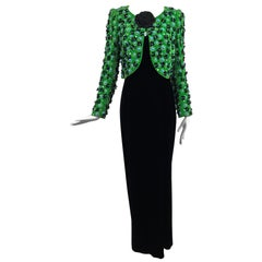 Adolfo Grass Green Velvet beaded Jacket and Velvet Slip Dress set 1970s