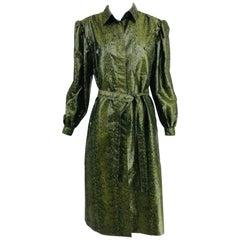 Adolfo Green Silk Textured Nylon Snakeskin Print Rain Coat 1980s