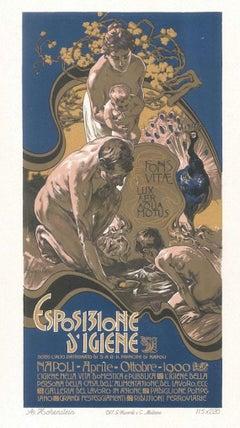 Esposizione d'Igiene - Original Lithograph by A. Hohenstein - 1900