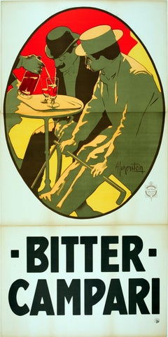 Large Early Original Antique Drink Advertising Poster - Bitter Campari Aperitif
