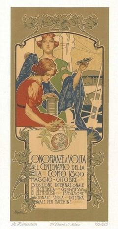 Onoranze a Volta - Original Lithograph by A. Hohenstein - 1899