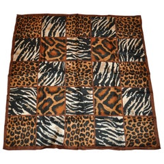 "Adolfo Large Elegant ""Zebra & Leopard"" Silk Scarf"