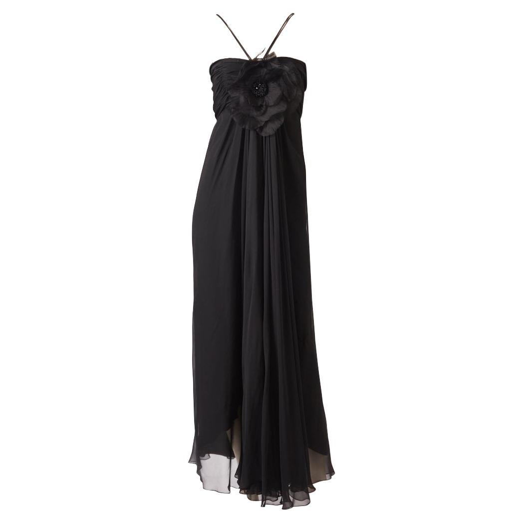 "Adolfo Layered Chiffon Evening Dress with Silk ""Poppy"" Flower Detail"