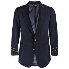 Adolfo Mens 1970s Vintage Navy Blue & Gold Wool Blazer