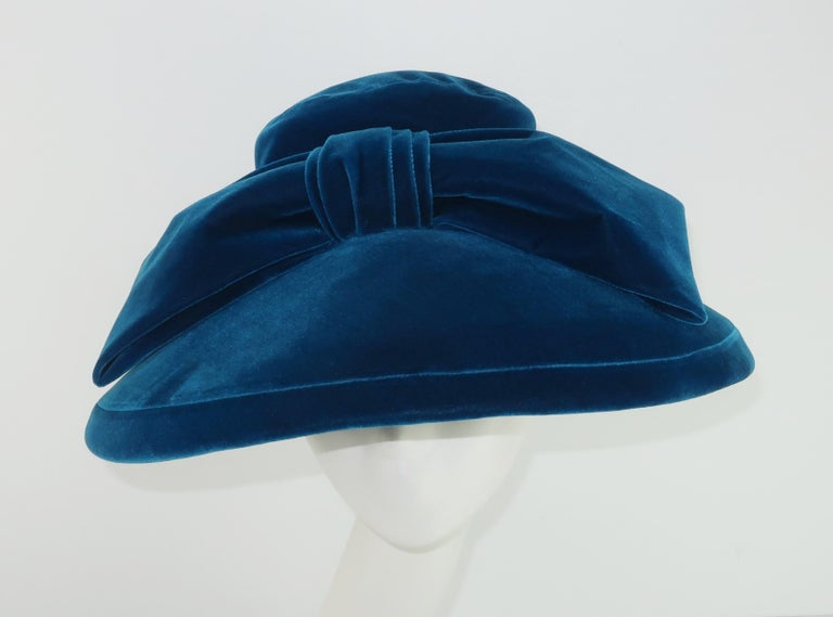 Women's Adolfo Peacock Blue Velvet Wide Brim Hat With Bow, C.1960 For Sale
