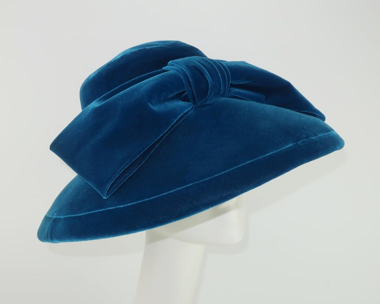 Adolfo Peacock Blue Velvet Wide Brim Hat With Bow, C.1960 For Sale 1