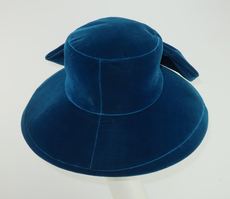 Adolfo Peacock Blue Velvet Wide Brim Hat With Bow, C.1960 For Sale 3