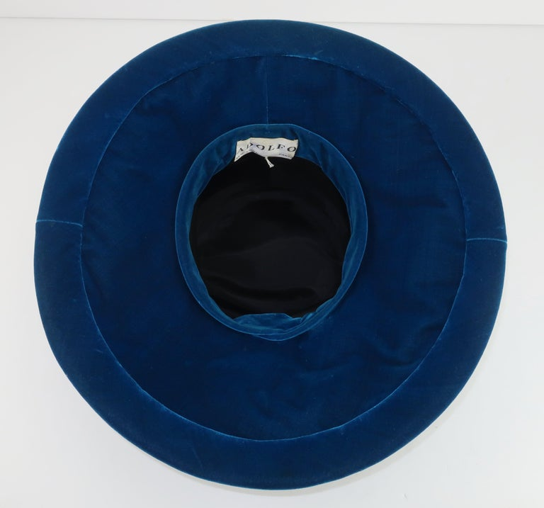 Adolfo Peacock Blue Velvet Wide Brim Hat With Bow, C.1960 For Sale 4