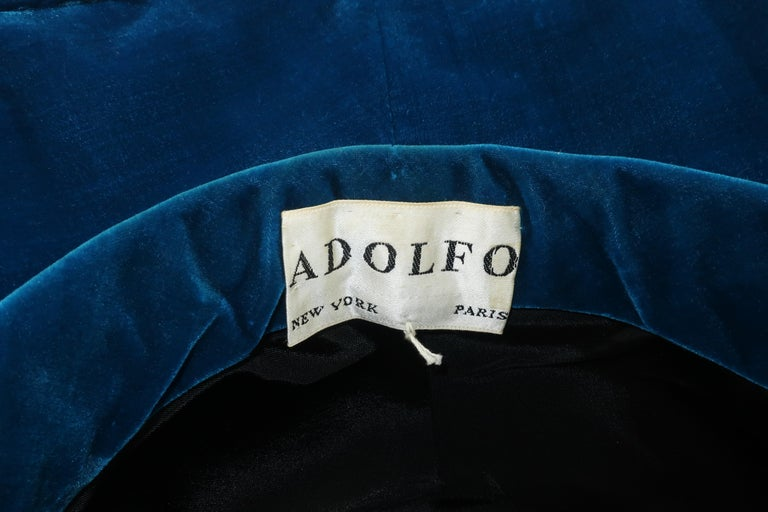 Adolfo Peacock Blue Velvet Wide Brim Hat With Bow, C.1960 For Sale 5