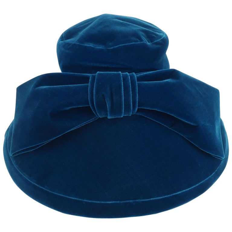 Adolfo Peacock Blue Velvet Wide Brim Hat With Bow, C.1960 For Sale