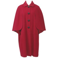 Adolfo Red Cape Coat