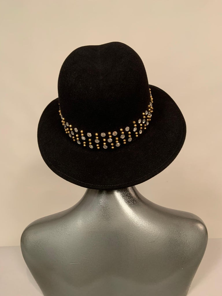 Adolfo Rhinestone and Brass Stud Trimmed Black Wool Felt Fedora Hat In Excellent Condition In New Hope, PA