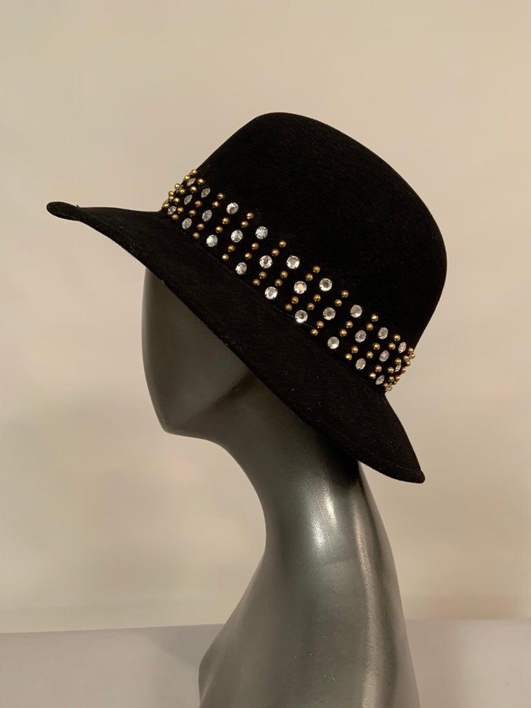 Women's Adolfo Rhinestone and Brass Stud Trimmed Black Wool Felt Fedora Hat