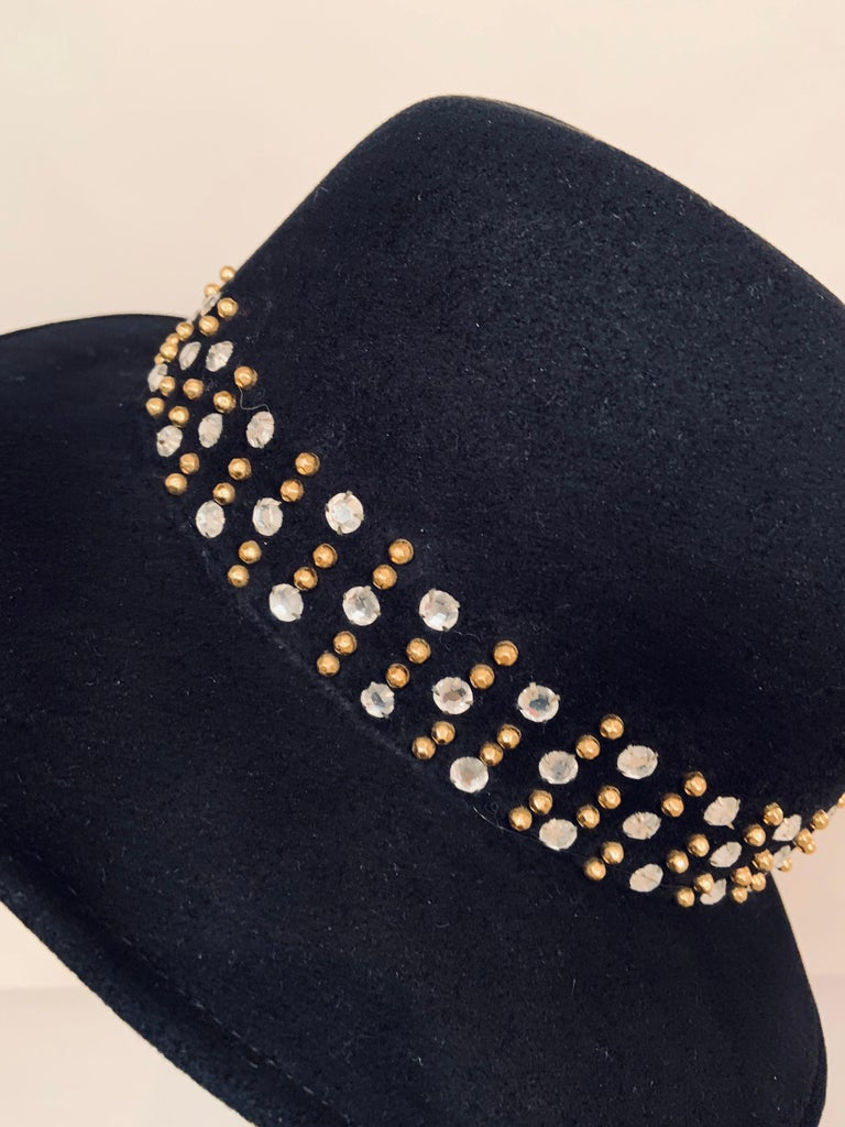 Adolfo Rhinestone and Brass Stud Trimmed Black Wool Felt Fedora Hat 1