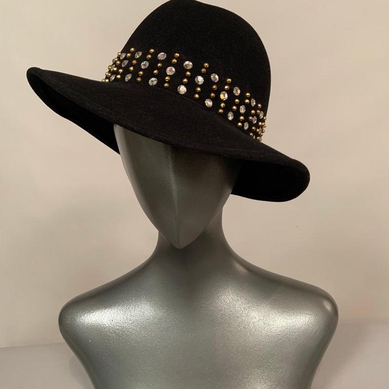 Adolfo Rhinestone and Brass Stud Trimmed Black Wool Felt Fedora Hat 2