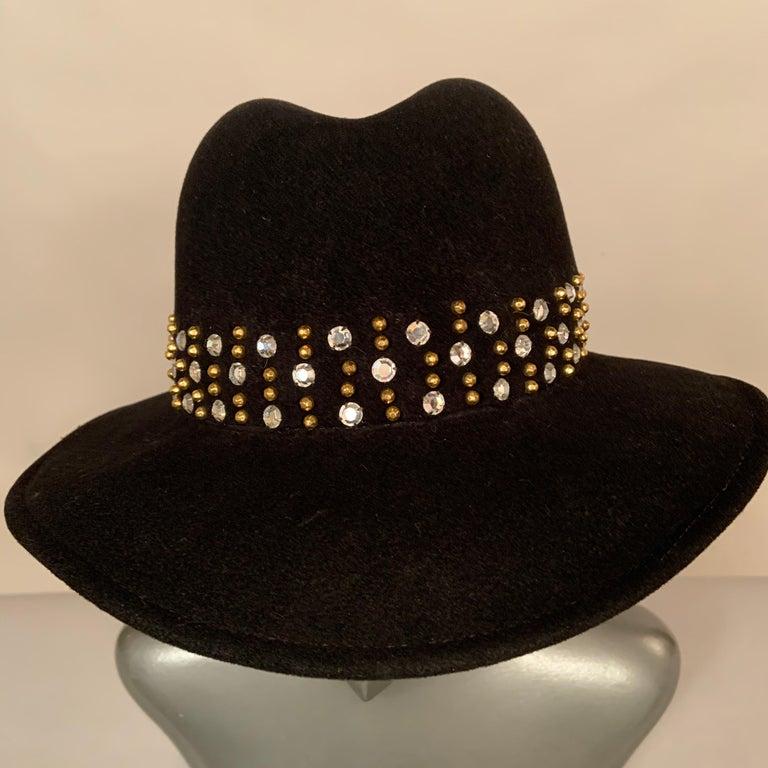 Adolfo Rhinestone and Brass Stud Trimmed Black Wool Felt Fedora Hat 3