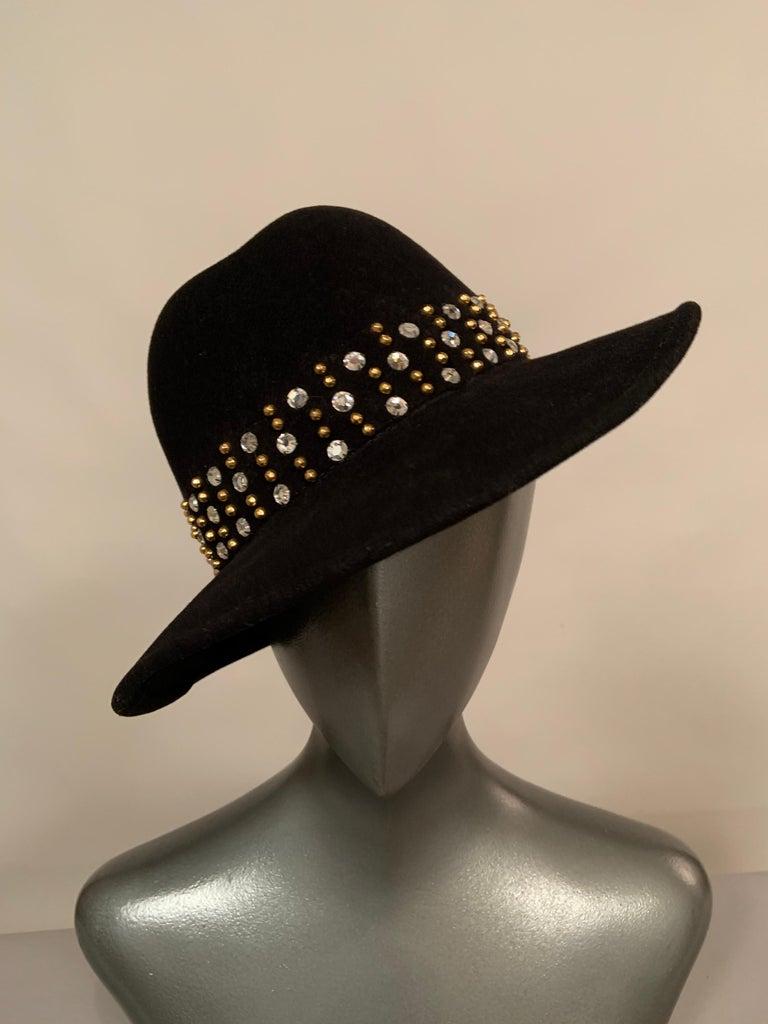 Adolfo Rhinestone and Brass Stud Trimmed Black Wool Felt Fedora Hat 4