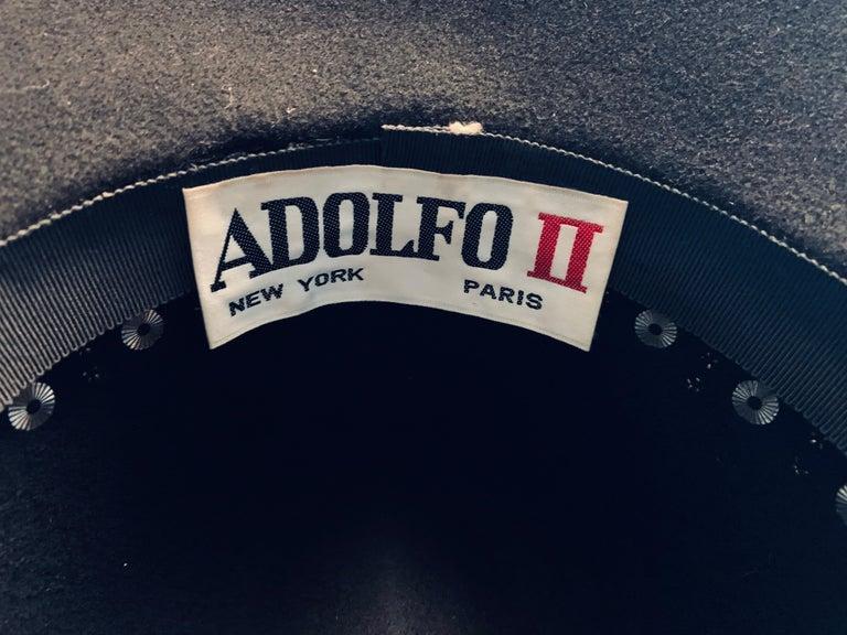 Adolfo Rhinestone and Brass Stud Trimmed Black Wool Felt Fedora Hat 5