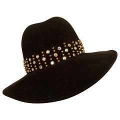 Adolfo Rhinestone and Brass Stud Trimmed Black Wool Felt Fedora Hat