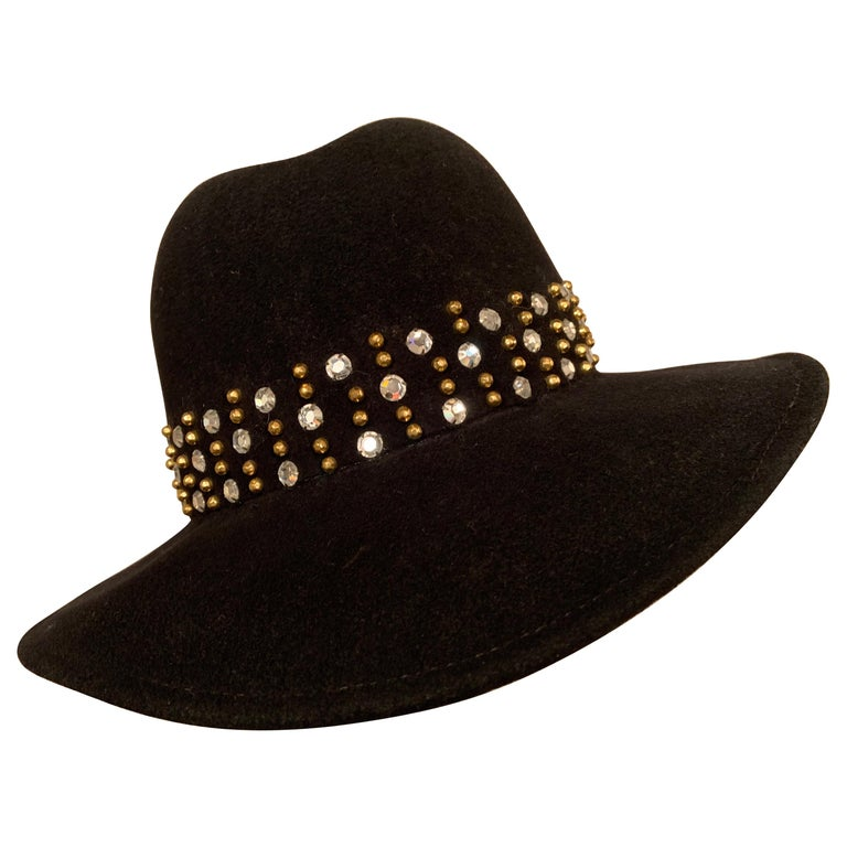 Adolfo Rhinestone and Brass Stud Trimmed Black Wool Felt Fedora Hat