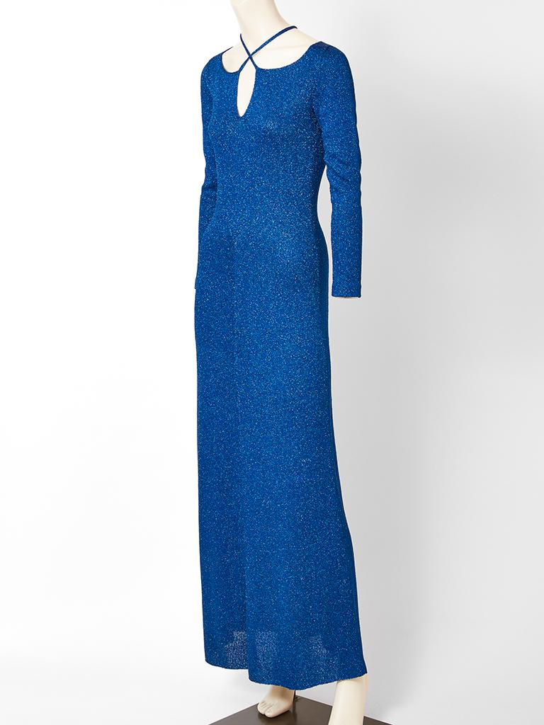 Adolfo, sapphire blue, lurex,  knit, maxi dress having, long sleeves, a fitted bodice with a slightly flared skirt and a