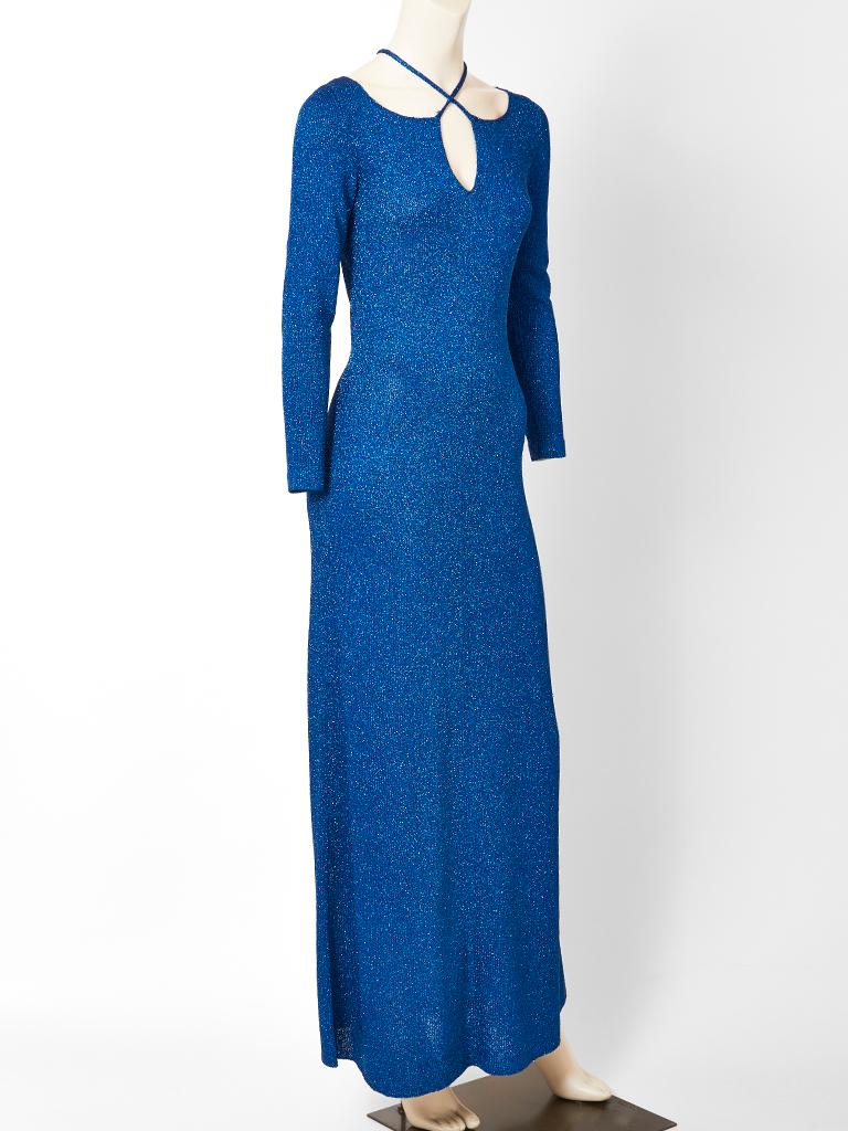 Adolfo Sapphire Blue Lurex Knit Maxi Dress In Good Condition For Sale In New York, NY
