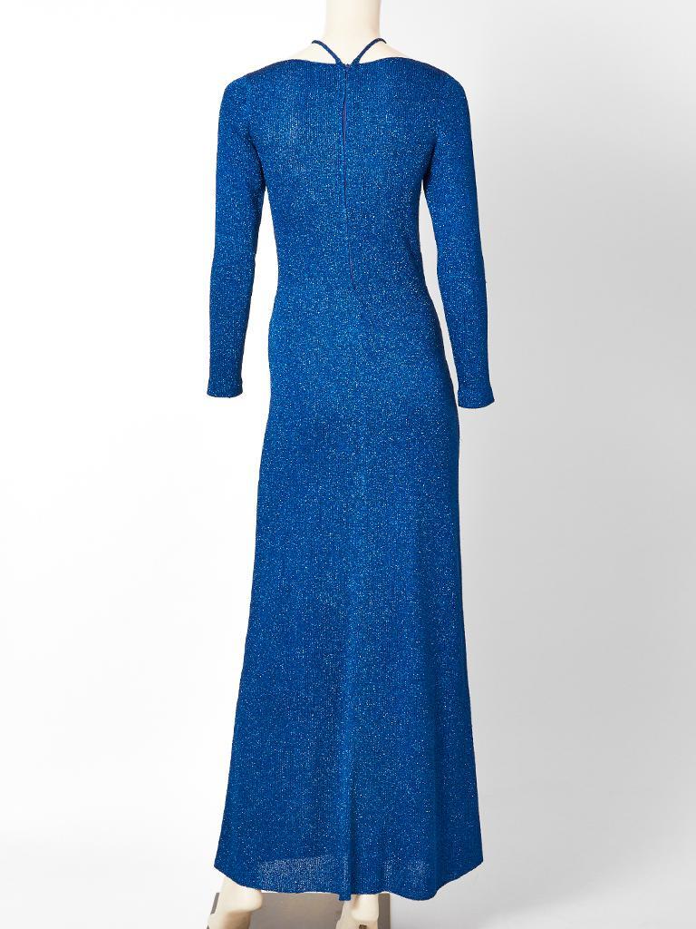 Women's Adolfo Sapphire Blue Lurex Knit Maxi Dress For Sale