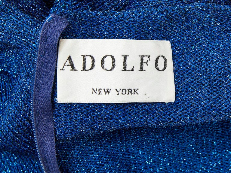 Adolfo Sapphire Blue Lurex Knit Maxi Dress For Sale 1