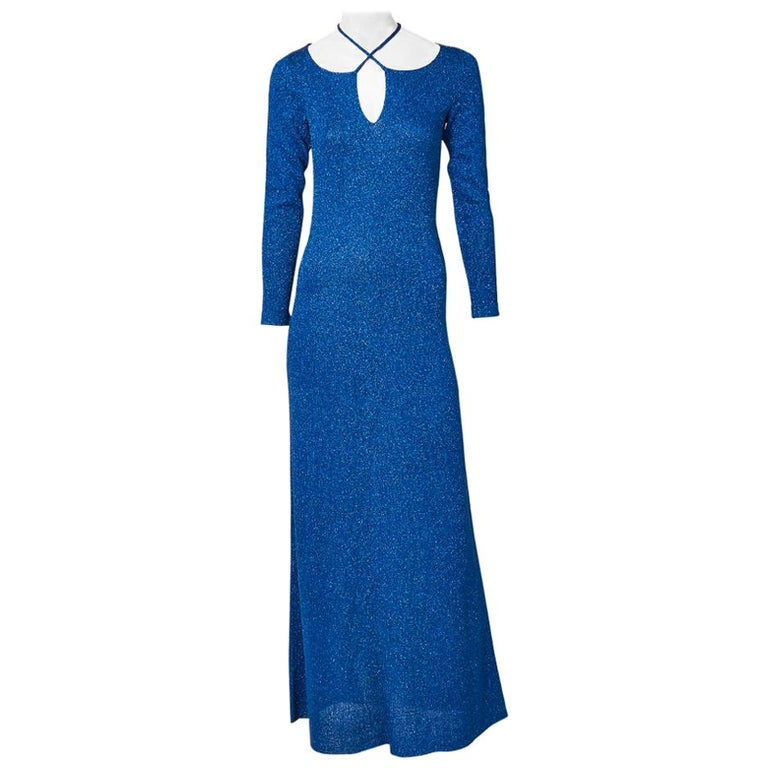 Adolfo Sapphire Blue Lurex Knit Maxi Dress For Sale