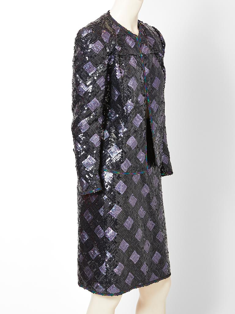 Black Adolfo Sequined Dinner Suit For Sale