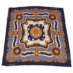 "Adolfo Shades of Navy & Gold ""Royal"" Silk Scarf"