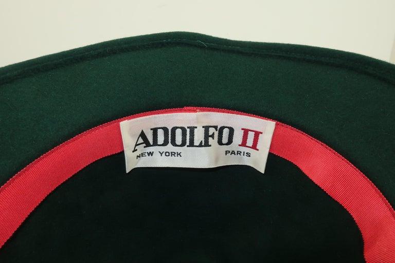 Adolfo Tyrolean Style Green Wool Felt Hat, C.1970 For Sale 7