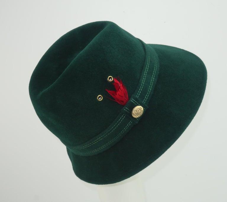 Adolfo Tyrolean Style Green Wool Felt Hat, C.1970 In Fair Condition For Sale In Atlanta, GA