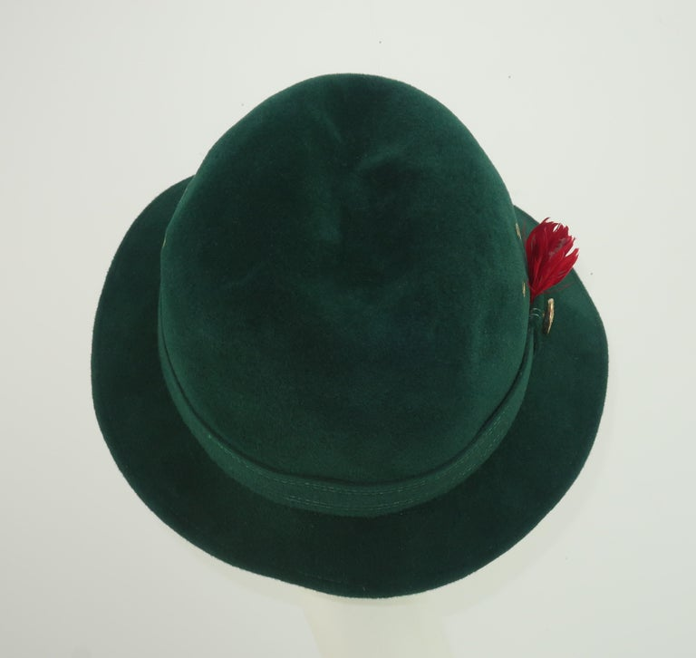 Women's Adolfo Tyrolean Style Green Wool Felt Hat, C.1970 For Sale