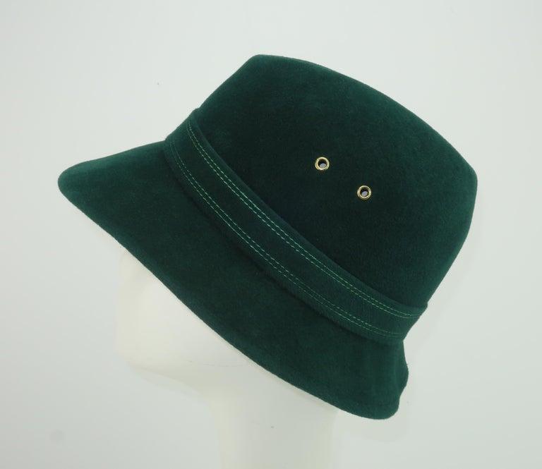 Adolfo Tyrolean Style Green Wool Felt Hat, C.1970 For Sale 1