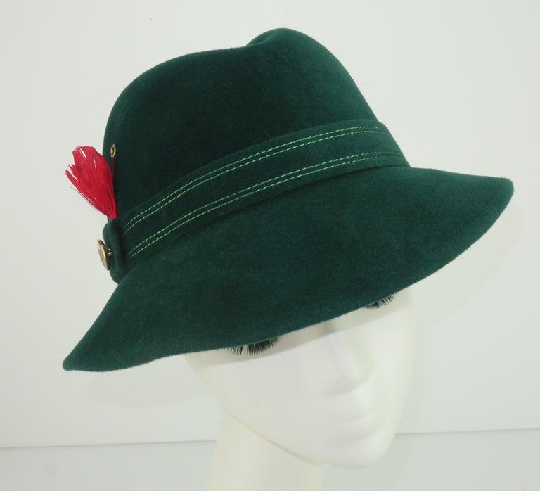 Adolfo Tyrolean Style Green Wool Felt Hat, C.1970 For Sale 2